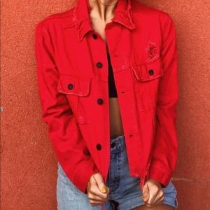 Cropped Red denim coat